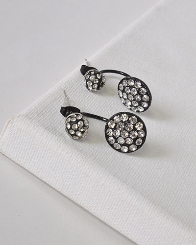 Circular Pattern Rhinestone Studded Drop Earrings-id.31590