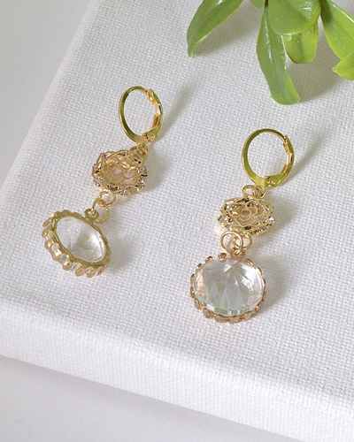 Floral Pattern and Crystal Studded Drop Earrings-id.31602