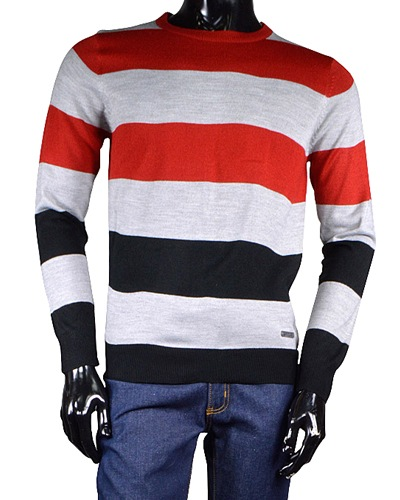 Crew Neck Sweater with Stripe Pattern-id.32537