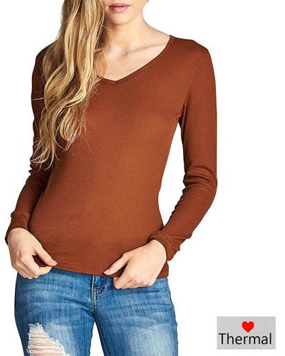 A ribbed knit top featuring long sleeves. a V-neckline. and a form-fitting silhouette-id.33665