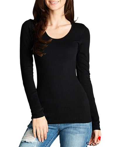 Ribbed knit round neckline top-id.CC33759
