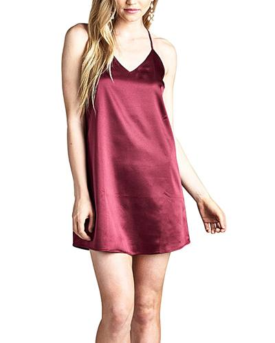 Ladies fashion satin slip dress featuring adjustable cami halter dress. a V-neckline. and a billowy silhouette-id.33786a