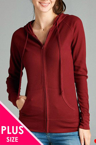 Plus size kangaroo front pocket french terry hoodie-id.CC33869b
