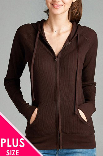 Plus size kangaroo front pocket french terry hoodie-id.CC33869h