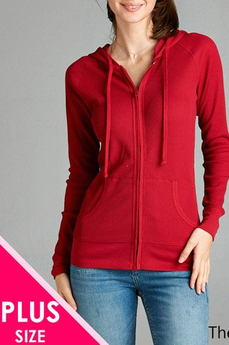 Plus size kangaroo front pocket french terry hoodie-id.CC33869l