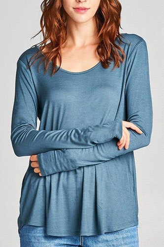 Ladies fashion Long Sleeve Round Neck Strappy Back Rayon Spandex Jersey Top-id.33916c