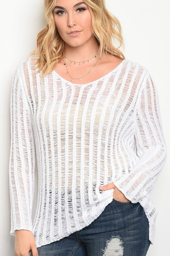 Plus size light weight knit sweater top with a scoop neckline.-id.33944a