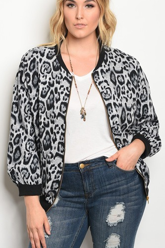 Plus size light wight animal print bomber jacket with a zipper closure.-id.33947