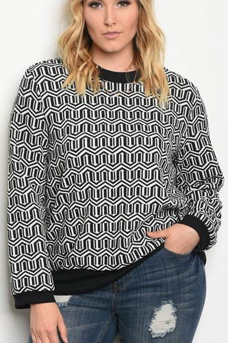 Plus size long sleeve printed sweater top with a crew neckline-id.33950