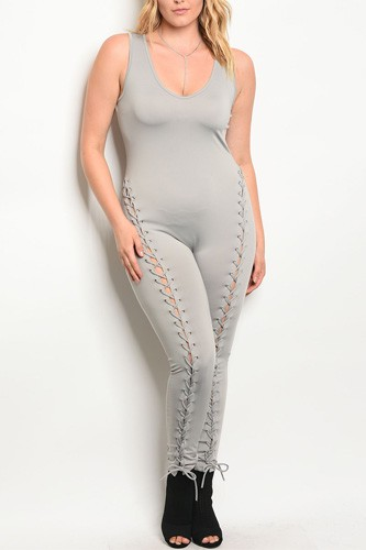 Plus size spandex blend jumpsuit with lace up details along the leg and a v neckline-id.33951