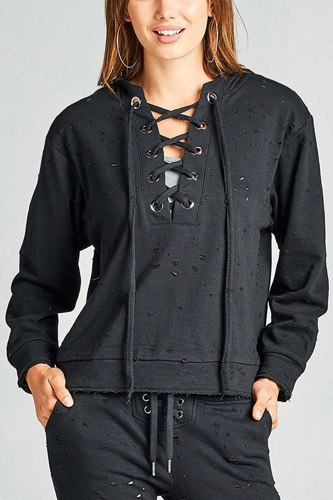 Ladies fashion dropped long sleeve grommet distressed cotton polyester slub french terry hoodie top-id.33955