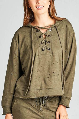 Ladies fashion dropped long sleeve grommet distressed cotton polyester slub french terry hoodie top-id.33955d