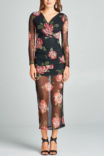 Ladies fashion long sleeve deep v-neck ruched floral printed mesh maxi dress-id.33957