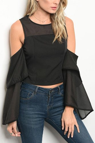 Ladies fashion long sleeve ruffle detailed blouse with a crew neckline and cold shoulders-id.33972a