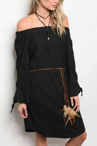 Ladies fashion long sleeve off the shoulder shift dress with a feathered waist tie-id.33973