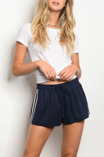 Ladies fashion navy track shorts with a drawstring wait tie-id.33974