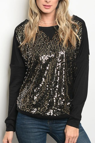 Ladies fashion long sleeve sweater top with sequin details and a crew neckline-id.33979