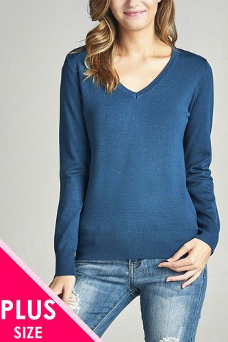Plus size long sleeve v-neck classic sweater-id.33985g