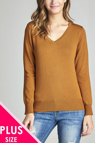 Plus size long sleeve v-neck classic sweater-id.33985h