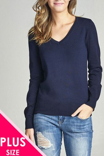 Plus size long sleeve v-neck classic sweater-id.33985k