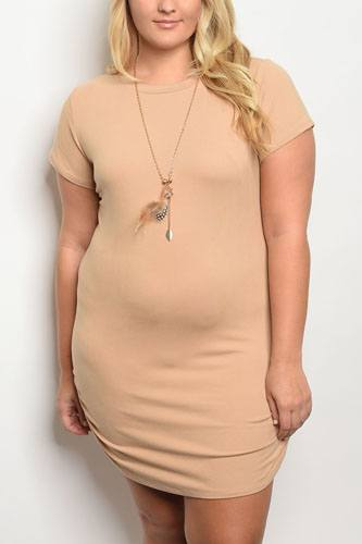 Plus size tan dress with chain -id.33986