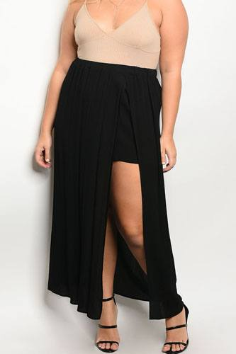 Plus size front slit maxi skirt-id.33992