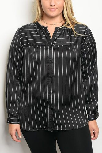 Plus size long sleeve striped satin top with a crew neckline-id.33994a