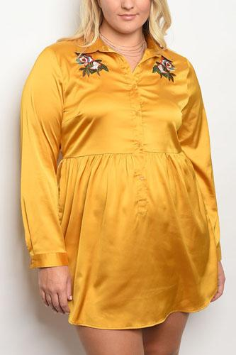Plus size long sleeve stain skater dress with floral embroidery an a collard neckline-id.34000b