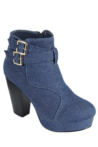 Ladies fashion ankle boot, closed almond toe, block heel, with buckle straps-id.CC34025a