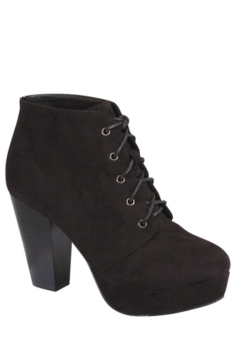Ladies fashion ankle boot, closed almond toe, block heel, with tie straps-id.CC34026b