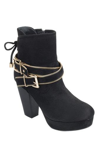 Ladies fashion ankle boot, closed almond toe, block heel, with zipper closure and buckle detail-id.CC34027