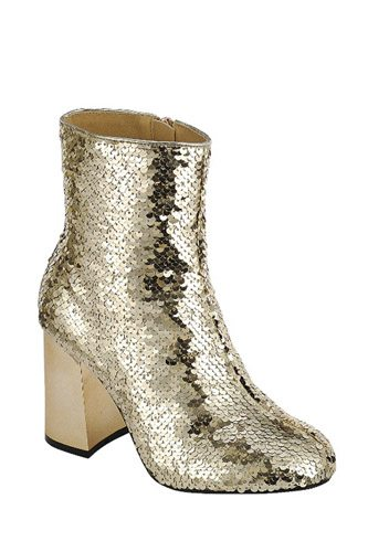 Ladies fashion sequins ankle boot. closed almond toe block heel. with zipper closure-id.34022
