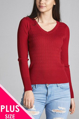Plus size long sleeve v-neck cable knit classic sweater-id.CC34029f