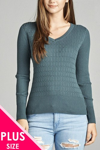 Plus size long sleeve v-neck cable knit classic sweater-id.CC34029l