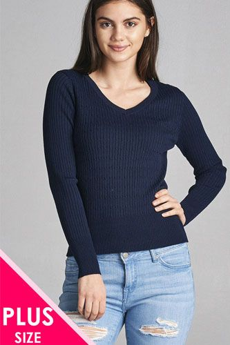 Plus size long sleeve v-neck cable knit classic sweater-id.CC34029o