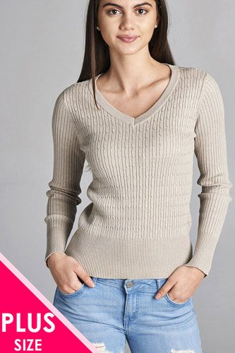 Plus size long sleeve v-neck cable knit classic sweater-id.CC34029p