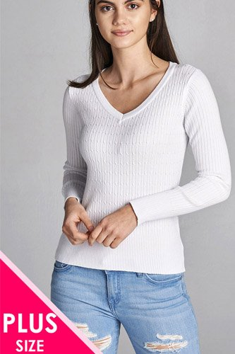 Plus size long sleeve v-neck cable knit classic sweater-id.CC34029q