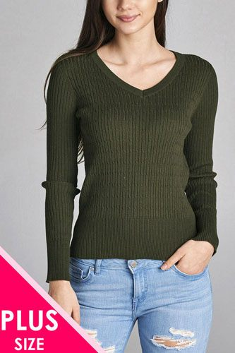 Plus size long sleeve v-neck cable knit classic sweater-id.CC34029r