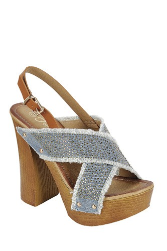 Ladies fashion ankle strap with adjustable buckle, wooden block heel-id.CC34044b