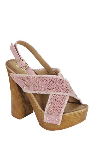 Ladies fashion ankle strap with adjustable buckle, wooden block heel-id.CC34044c