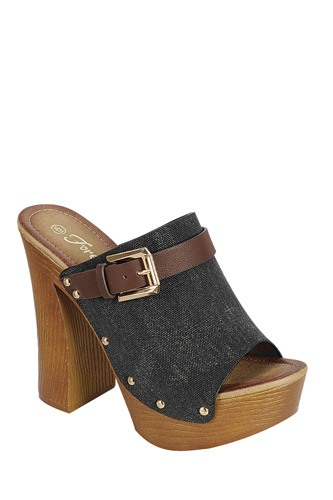 Ladies fashion denim upper slip on with buckle detail, and wooden covered heel-id.CC34045