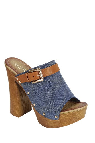 Ladies fashion denim upper slip on with buckle detail, and wooden covered heel-id.CC34045a