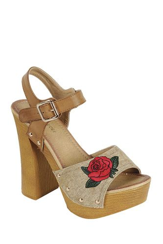 ladies fashion leather upper slingback strap with buckle, with wooden stacked block heel-id.CC34046
