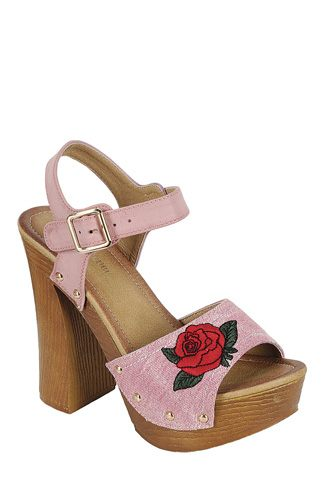 ladies fashion leather upper slingback strap with buckle, with wooden stacked block heel-id.CC34046b