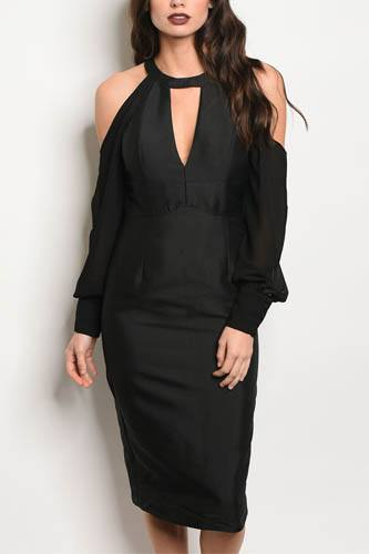 Ladies fashion long sleeve fitted bodycon dress with a mock neck and a v cutout , and cold shoulder details-id.CC34059