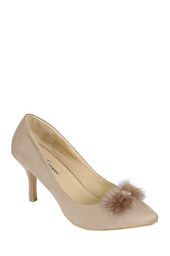 Ladies fashion closed round toe slip on, suede pump with decorative rhinestone detail-id.CC34089c