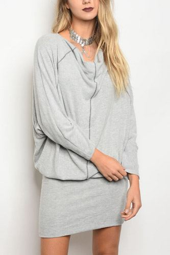 Ladies fashion long sleeve relaxed fit knit sweater dress with a cowl neckline-id.CC34106