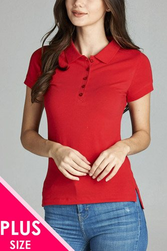 Ladies fashion plus size classic jersey polo top-id.CC34113o