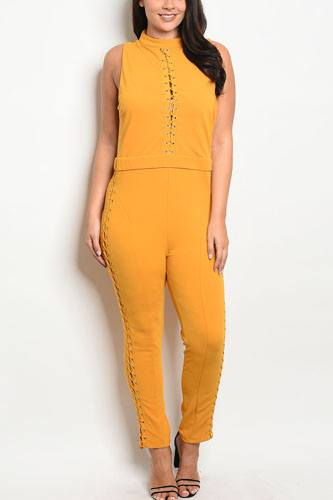 Ladies fashion sleeveless fitted jumpsuit with a mock neckline and lace up details-id.CC34120