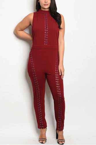 Ladies fashion sleeveless fitted jumpsuit with a mock neckline and lace up details-id.CC34120a